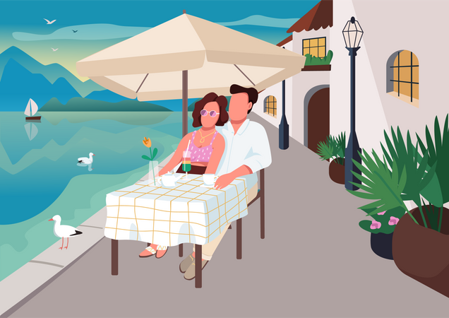Couple having breakfast in seaside resort cafe Illustration