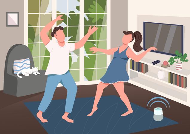 Couple having fun together Illustration