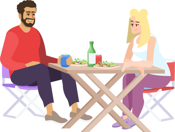 Couple having lunch at campsite Illustration