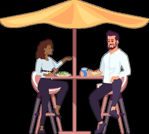 Couple having lunch under shade Illustration