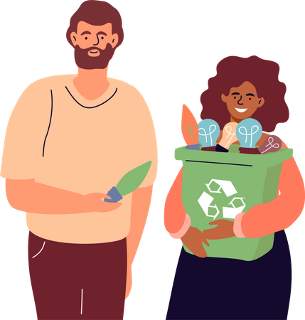 Couple holding recycle bin Illustration