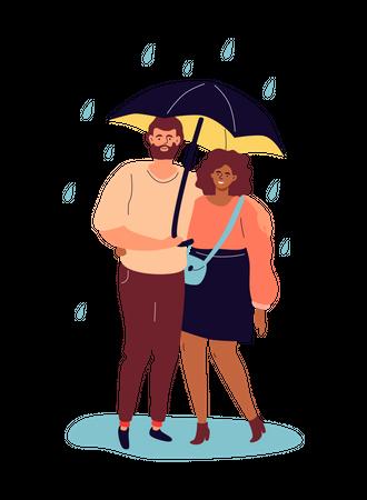 Couple holding umbrella Illustration