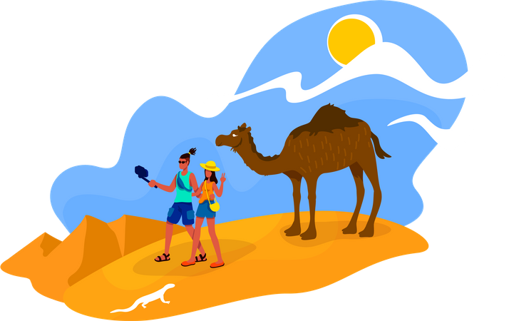 Couple in Africa Illustration