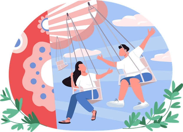 Couple in amusement park Illustration