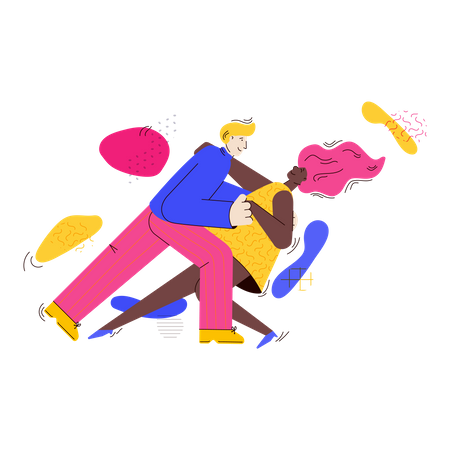 Couple in bright clothing dancing twist or swing Illustration