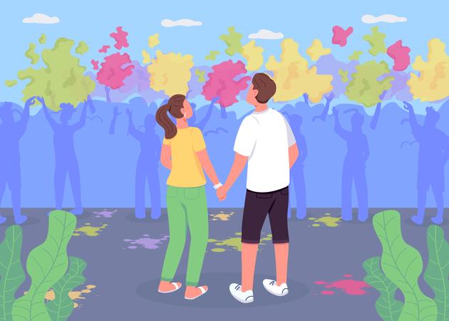 Couple in Holi festival Illustration