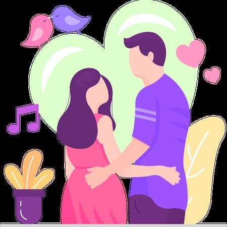 Couple In Love Illustration
