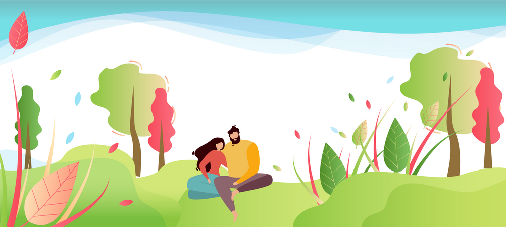 Couple in Love or Friends Having Rest on Nature Illustration