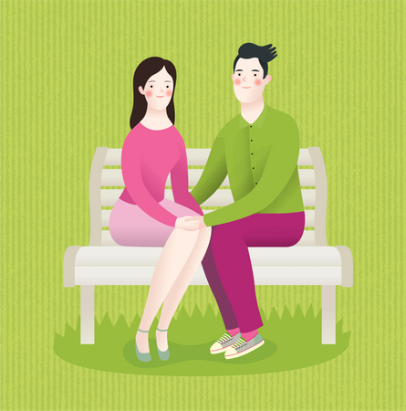 Couple in love sitting on bench Illustration