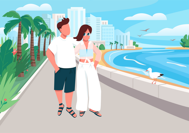 Couple in love walking along seafront Illustration