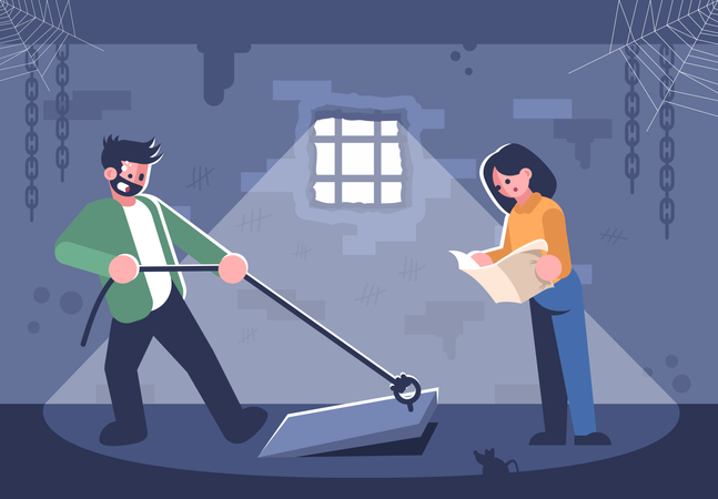 Couple in quest room Illustration