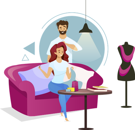 Couple in sewing studio Illustration