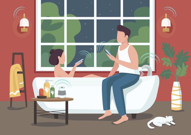 Couple in smart bathroom Illustration