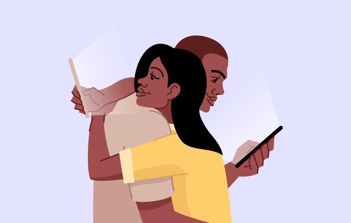 Couple in Social media addiction Illustration