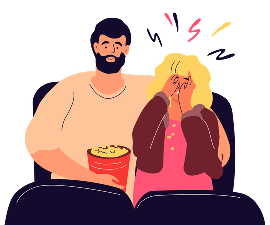 Couple in the cinema Illustration