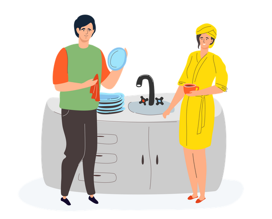 Couple in the kitchen Illustration