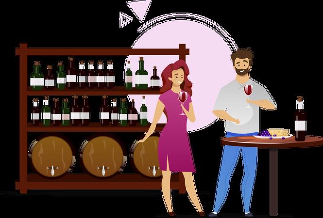 Couple in wine cellar Illustration