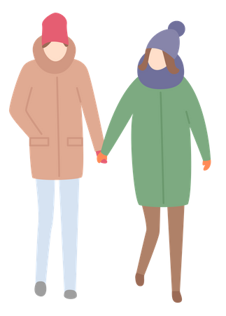 Couple in winter clothes Illustration