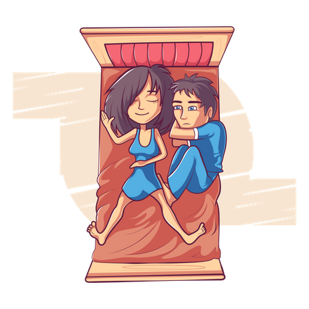 Couple is sleeping on the bed Illustration