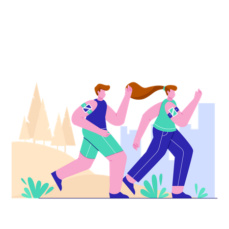 Couple jogging at city park Illustration