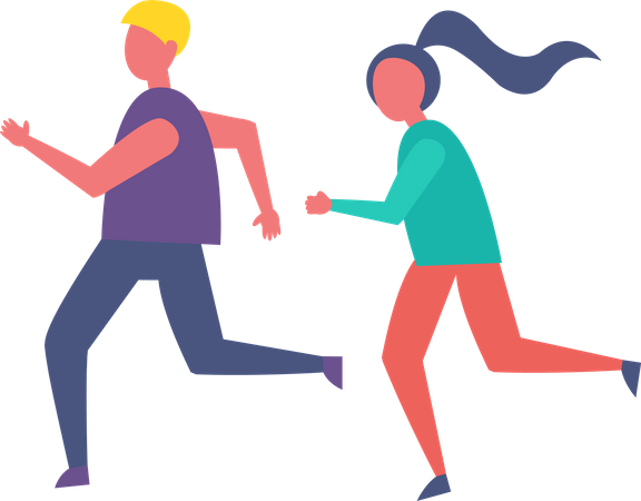 Couple jogging in park Illustration
