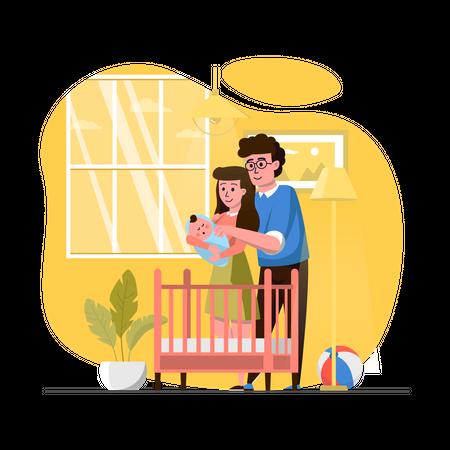 Couple looking at newborn kid Illustration