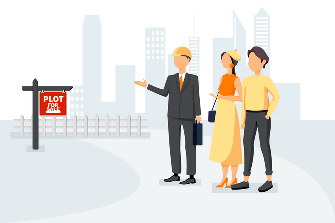 Couple looking for new property for investment Illustration