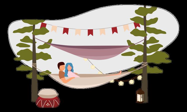 Couple lying in hammock Illustration