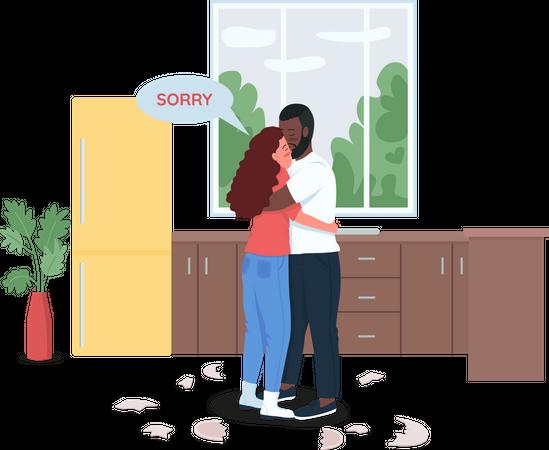 Couple making up Illustration