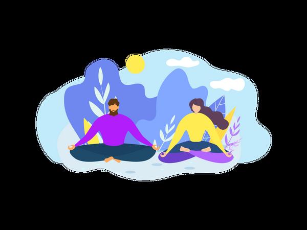 Couple Meditating at park Illustration