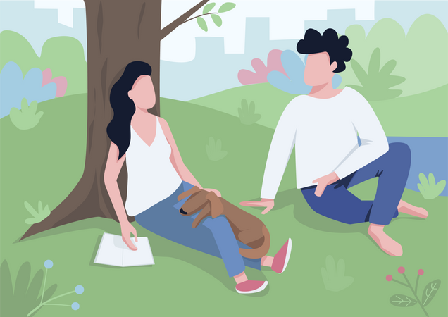 Couple meeting in park Illustration