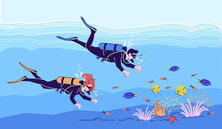 Couple of divers Illustration