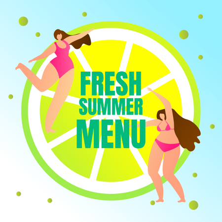 Couple of Young Sexy Girls in Swimming Suits Dancing on Huge Lemon Slice Illustration