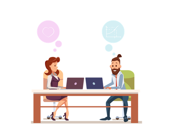 Couple Office Worker Sit at Workplace with Laptop Illustration