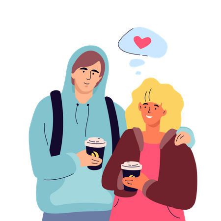 Couple on a date Illustration