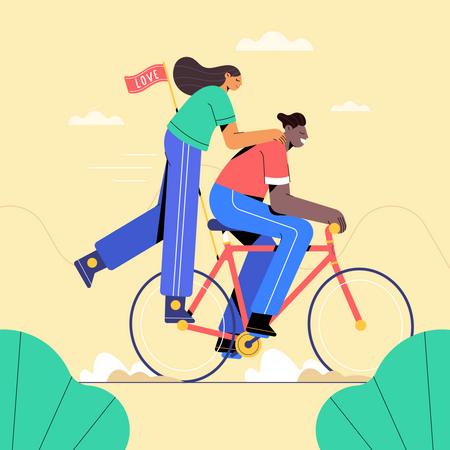 Couple on bike Illustration