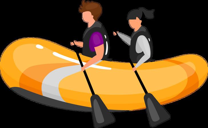 Couple on boat Illustration