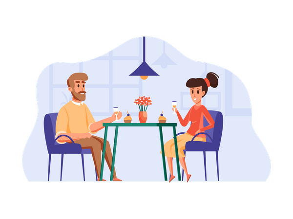 Couple on date Illustration