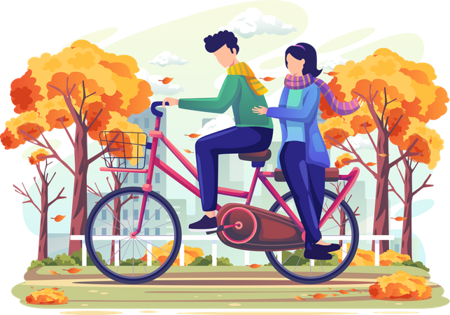 Couple on date riding bicycle Illustration