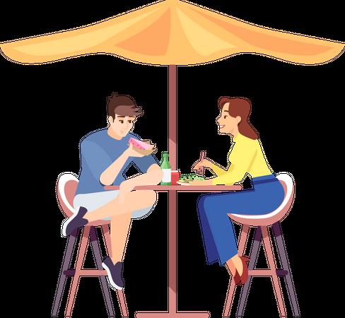 Couple on honeymoon having lunch Illustration