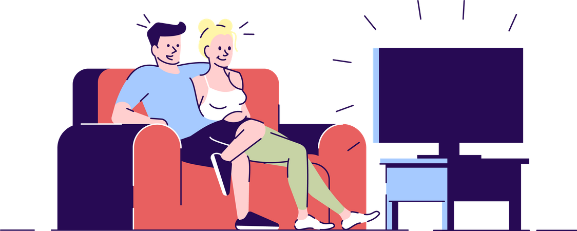 Couple on Movie Night Illustration