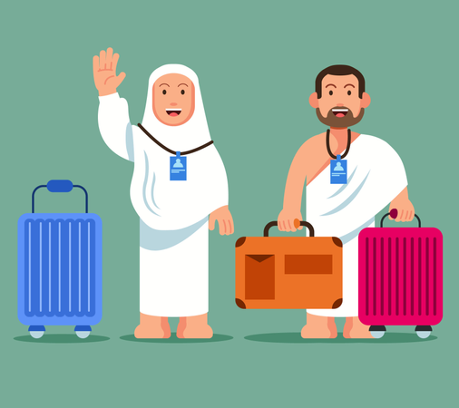 Couple pilgrims carrying whelled briefcase  ready for pilgimage trip to Mecca. Illustration