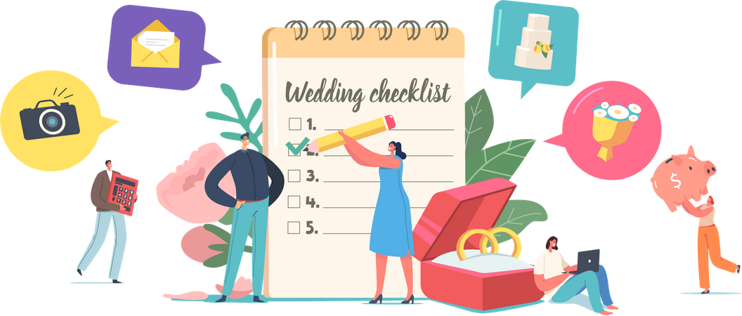 Couple Planning Wedding  Filling Checklist before Marriage Illustration