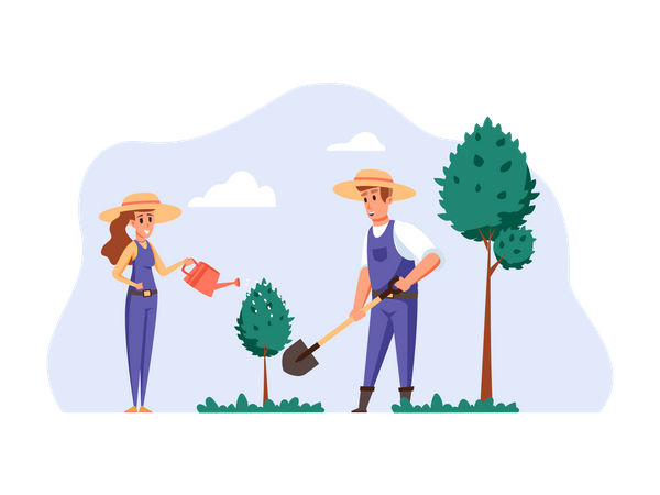 Couple planting tree seed and watering them Illustration