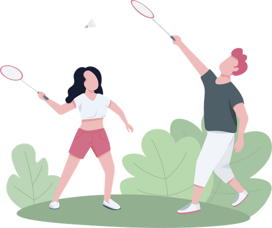 Couple playing badminton outdoors Illustration