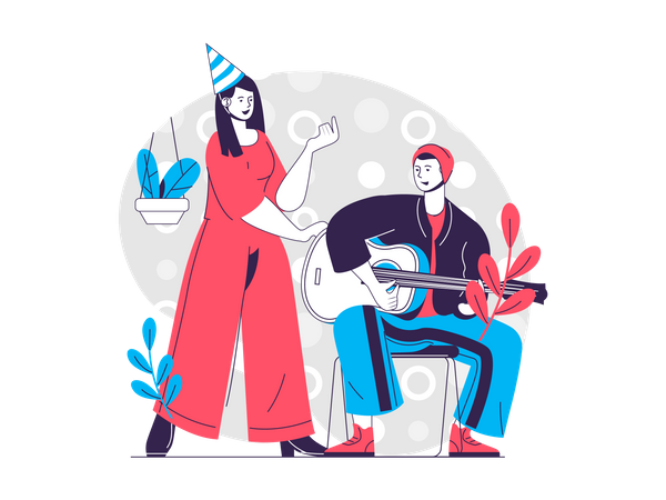 Couple playing guitar and singing song on birthday party Illustration