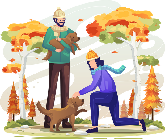 Couple playing together with dog Illustration