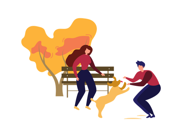 Couple playing with puppy Illustration