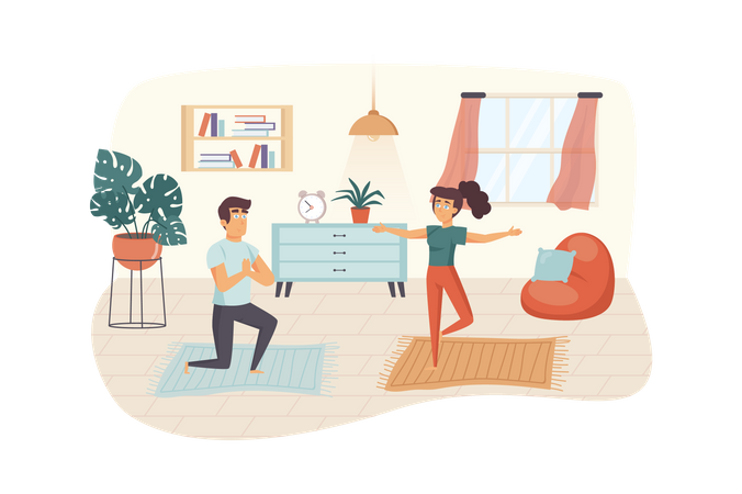 Couple practicing yoga at room Illustration