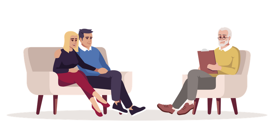 Couple psychotherapy session Illustration